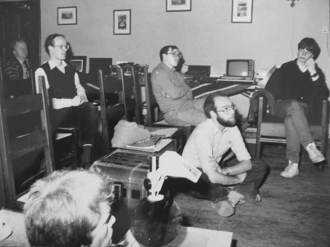 From l.to r. Piet Koning (background), Casper ter Kuile, Koen Miskotte (in front), Marc Gyssens, Carl Johannink and Arjan Grinwis during a lecture (credit Carl Johannink).