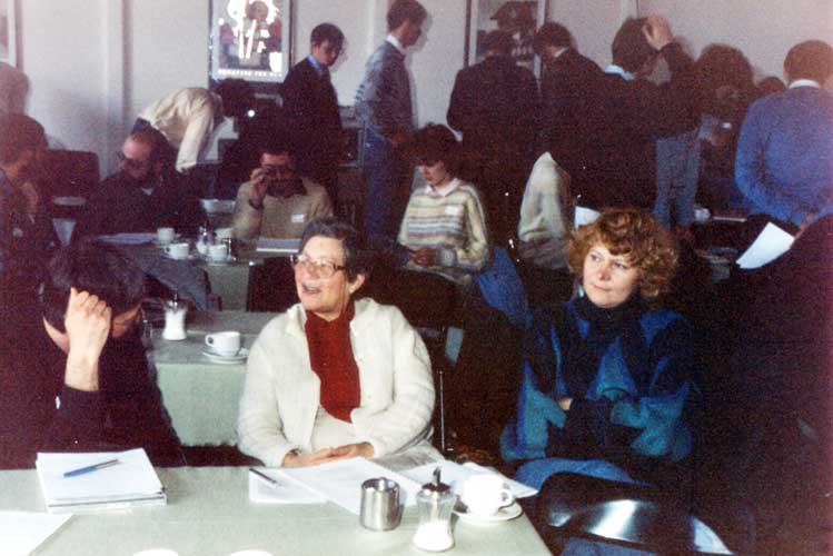 The audience at the 1988 IMC, in front Hans-Georg Schmidt, Hélène Hedreul and Evelyne Blomme (credit Casper ter Kuile).