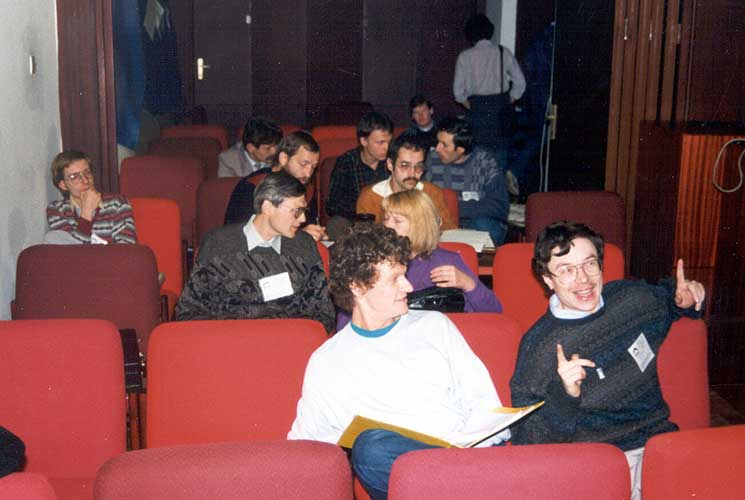 The audience, first row Detlef Koschny and Paul Roggemans, second row Dieter Heinlein and Evelyne Blomme, third row Rainer Arlt, Jürgen Rendtel and André Knöfel, fourth row Valentin Velkov, Ralf Koschack and Korado Korlevic (credit Casper ter Kuile).