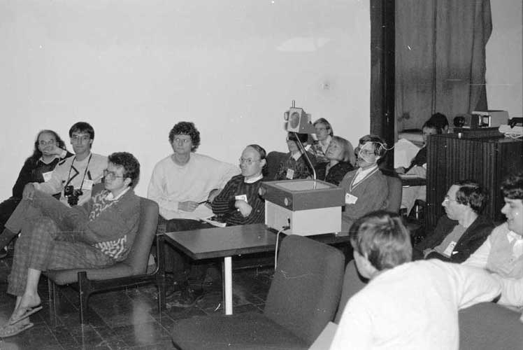 The audience. First row l.to r. Axel Haas, Marc de Lignie, ?? and Malcolm Currie (back). Second row: Detlef Koschny, Casper ter Kuile, Christian Steyaert and Mark Vints. Third row Dieter Heinlein (behind overhead), Evelyne Blomme and Jeroen Van Wassenhove. Last row: Rainer Arlt and Ralf Koschack (credit Péter Spányi).