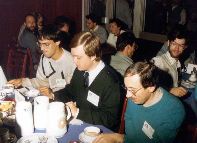 Lunch at the IMC, from l.to r. Marc de Lignie, Thomas Nobiling, Chris Steyaert and Jan Lanzing looking behind (credit Casper ter Kuile).