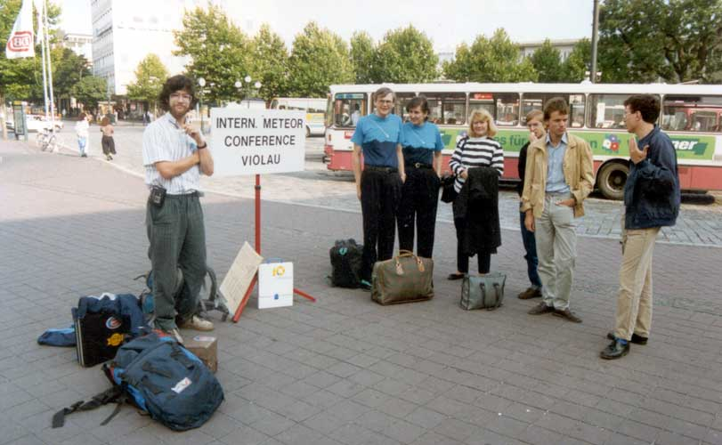 Arrival of the participants at the railway station, from l.to r. Jan Lanzing, Dieter Heinlein, Gabriele Marxer, Evelyne Blomme, Rainer Arlt, Ralf Koschack and Paul Roggemans (credit Casper ter Kuile).