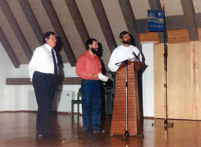 At the end of the 1990 IMC, Martin Mayer, Jürgen Rendtel and Hans-Georg Schmidt (credit Casper ter Kuile).