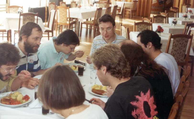 Lunch at the 1991 IMC, from l.to r. Roland Egger, Jürgen Rendtel, Ina Rendtel, Paul Roggemans, André Knöfel (back), Axel Haas (back), Stefan Ströbele (back) and Irmgard Schmidt (back) (credit Casper ter Kuile).