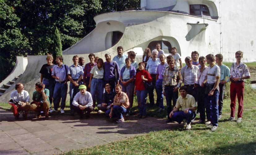 The IMC 1991 group photo in front of the Einsteinturm Solar observatory, seated from l. to r. Casper ter Kuile, Marc de Lignie, Marc Gyssens, Rainer Arlt, Pierre Bader and Malcolm Currie. Standing from l.to r. Stefan Ströbele, Siegfried Stapf, Ralf Koschack, Jürgen Rendtel, ??, Kathrin Düber, Irmgard Schmidt, Hans-Georg Schmidt, Mark Vints, Ina Rendtel, Ragnar Bödefeld, Alexandra Terentjeva, Axel Haas, Oleg Bel'kovich, André Knöfel, Gennadij Andreev, Cis Verbeeck, Peter Zimnikoval, Roland Egger, Daniel Ocenas, Peter Aneca, Jarislav Gerbos, Petr Pravec, ?? and Roland Winkler (credit Paul Roggemans).