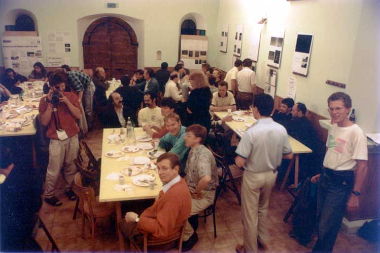 The first evening, after a welcome drink, dinner was served in the conference room, at left we see Roland Egger photographing, at the end of the table Axel Haas. Then from l.to r. André Knöfel, Detlef Koschny, Jacob Kuiper, Evelyne Blomme (standing), Felix Bettonvil, Paul Roggemans (standing), Sirko Molau (standing) and Urijan Poerink seated in front (credit Casper ter Kuile).