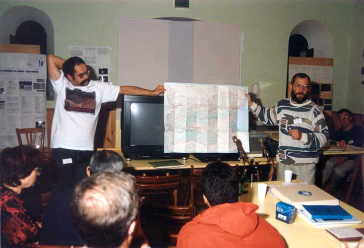 André Knöfel and Jürgen Rendtel showing the location of the 1994 IMC in Bulgaria (credit Casper ter Kuile).