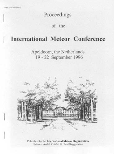 The Proceedings of the International Meteor Conference, Apeldoorn 1996.