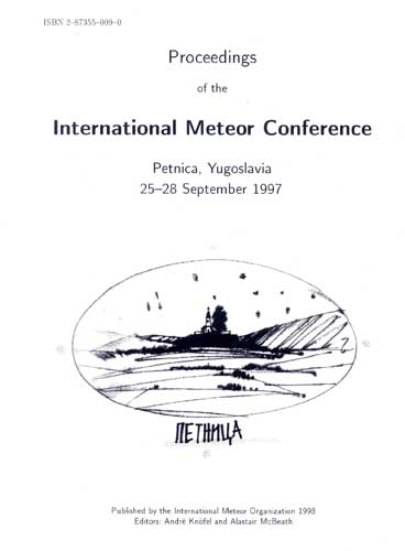 The Proceedings of the International Meteor Conference, Petnica 1997.