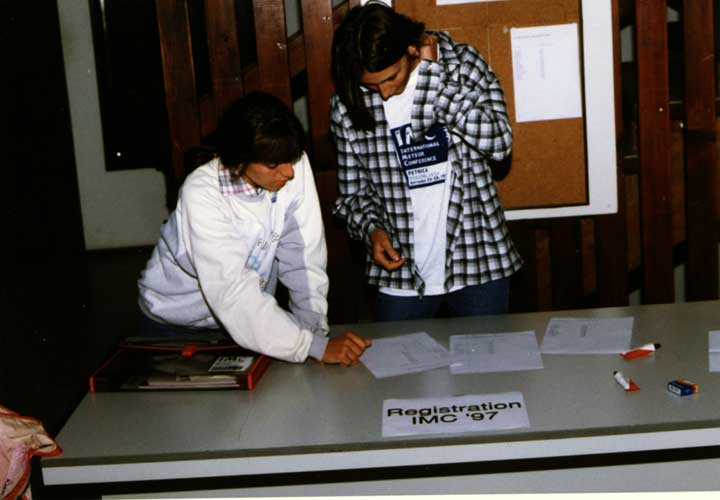 Lina Rashkova and Katya Koleva at the registration desk (credit unkown photographer, image provided by Valentin Velkov).