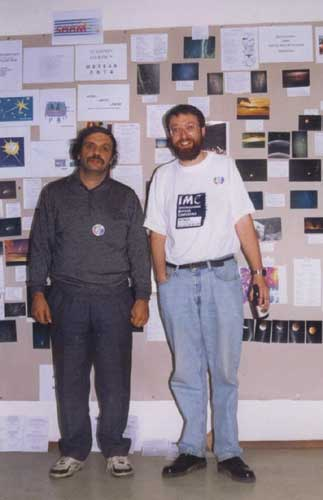 Andrei Dorian Gheorge and Alastair McBeath in front of the posters (credit Valentin Grigore).