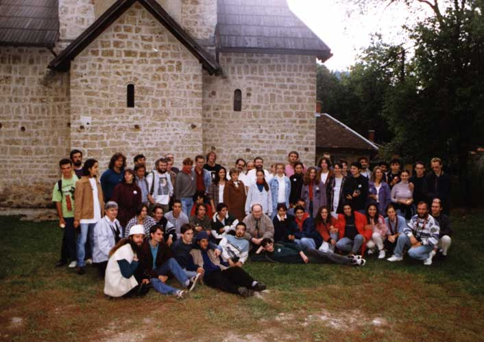 An unofficial group photo during the excursion in front of an old nunnery. Seated from l.to r. Daniel Ocenas, Valentin Grigore, Katya Koleva, Stefan Berinde, Vladimir Arnaudov, ??, ??,??, ??, ??, ??, ??, Marc Gyssens, ?? (laying), ??, ??, ??, ??, ??, Eva Bozhurova, ??, Jürgen Rendtel and ??. Standing from l.to r. Galin Genchev, ??, Ivelina Momcheva, Valentin Velkov, Lina Rashkova, Peter Zimnikoval, Nagatoshi Nogami, Chris Trayner, Mirko Nitschke, Roberto Gorelli, Felix Bettonvil, Sirko Molau, Nikola Biliskov, ??, ??, André Knöfel, Giovani Roselli, Alastair McBeath, ?? Rainer Arlt, ??, ??, ??, Cristina Tinta, ??, ??, ??, ??, ??, ??,??, ??, ??, ??, ?? and ?? (credit unkown photographer, image provided by Valentin Velkov).