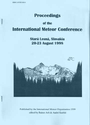 The Proceedings of the International Meteor Conference, Stará Lesná 1998.