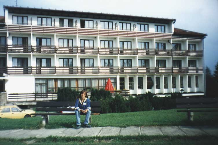 The hotel of the 1998 IMC in Stará Lesná and Lina Hristova Rashkova (credit unknown photographer, picture provided by Valentin Velkov).
