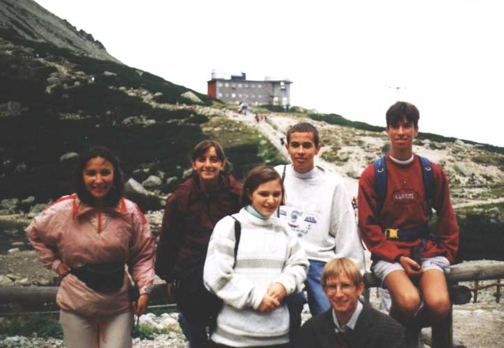 Excursion to the Skalnaté Pleso Observatory, from l.to r. Eva Bozhurova, Lina Hristova Rashkova, Elena Borisova Sarbinska, Vladimir Krumov, Rainer Arlt and Nikolay Angelov Dobrev (credit unknown photographer, picture provided by Valentin Velkov).