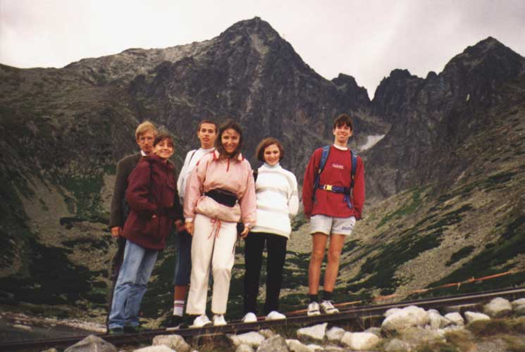 Excursion to the Skalnaté Pleso Observatory, from l.to r. Rainer Arlt, Lina Hristova Rashkova, Vladimir Krumov, Eva Bozhurova, Elena Borisova Sarbinska and Nikolay Angelov Dobrev (credit unknown photographer, picture provided by Valentin Velkov).