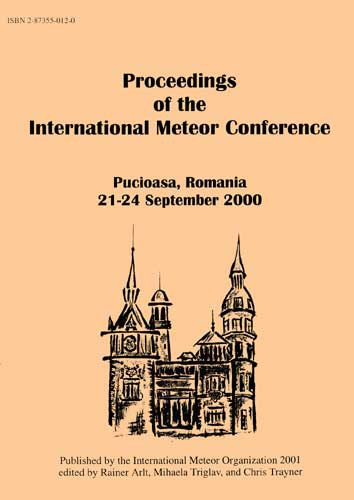 The Proceedings of the International Meteor Conference, Pucioasa 2000.