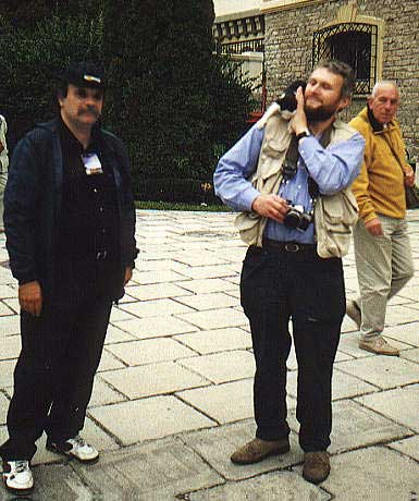 Andrei Dorian Gheorge and Chris Trayner with a cat (credit Javor Kac).