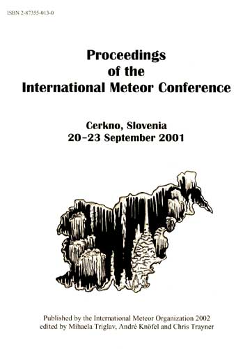 The Proceedings of the International Meteor Conference, Cerkno 2001.