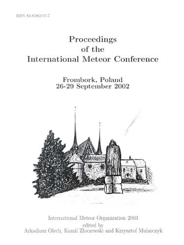 The Proceedings of the International Meteor Conference, Fromborg 2002.