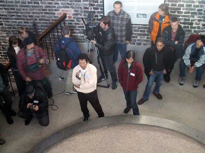 During the excursion, climbing the stairs in the tower with the pendule of Foucault (credit Casper ter Kuile).