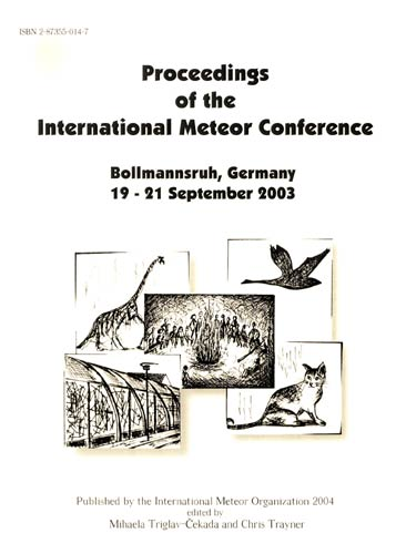 The Proceedings of the International Meteor Conference, Bollmannsruh 2003.
