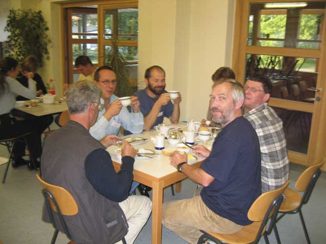 Lunch at the 2003 IMC, from l.to r. Stane Slavec, Marc Neijts, Joe Zender, Jürgen Rendtel and Detlef Koschny (credit Casper ter Kuile).