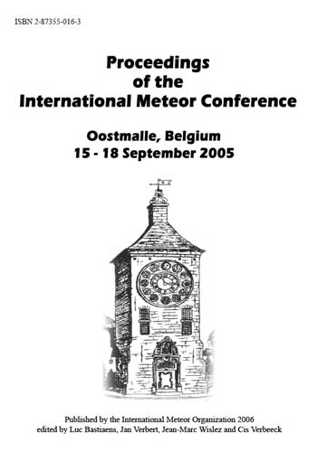 The Proceedings of the 2005 International Meteor Conference, Oostmalle, Belgium.