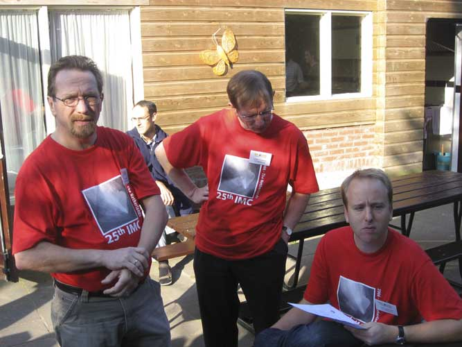IMC-2006 organizers (from l.to r.): Marc Neijts, Urijan Poerink and Joost Hartman, Marc de Lignie enjoys the sunshine in the back (credit Casper ter Kuile).