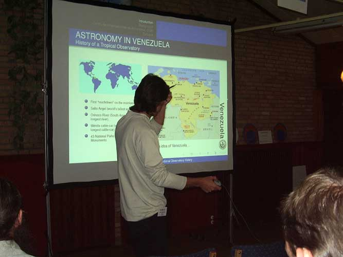 Antonio Martinez presenting 'Historical Survey of the National Astronomical Observatory in Llano del Hato' (credit Urška Pajer).