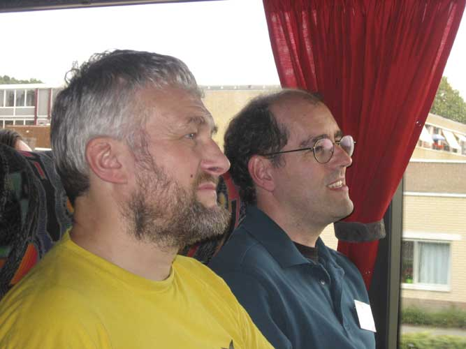 Chris Trayner and Peter Jenniskens in the bus (credit Casper ter Kuile).