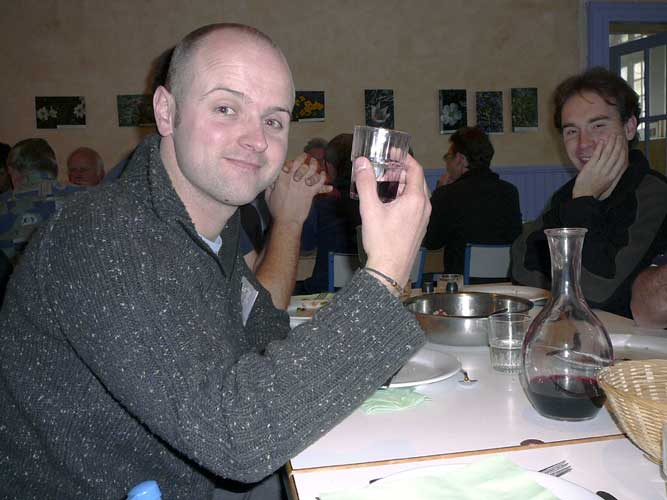 Jonathan McAuliffe enjoying the local wine that was served with the lunch Thursday noon, at right Jérémie Vaubaillon of this IMC LOC (credit Detlef Koschny).