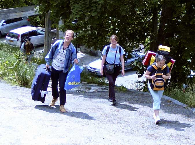 Arrival of the participants on 7 June afternoon, after a steep climb from the bus stop to l'Hospitalet, from l.to r. Andreas Buchmann, Maria Gritsevich and Eva Bozhurova (credit Detlef Koschny).