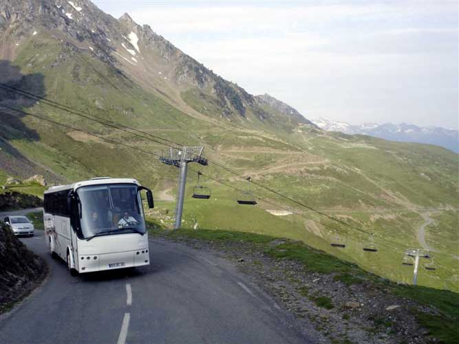 Saturday morning two busses on the way to Tourmalet and Pic du Midi for the IMC excursion (credit Jos Nijland).