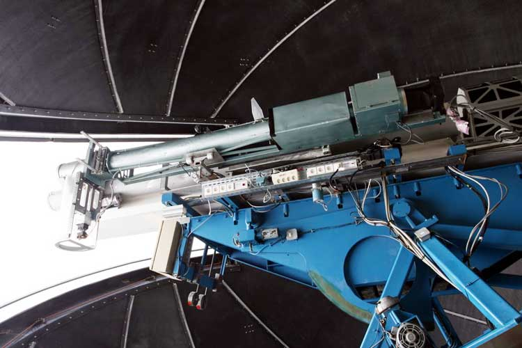 The solar coronograph of Pic du Midi observatory and the dark blue sky (credit Luc Bastiaens).