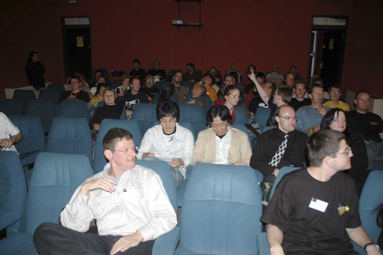 The audience eagerly waiting for the astropoetry show in the cinema alias conference room (credit Jean-Marc Wislez).