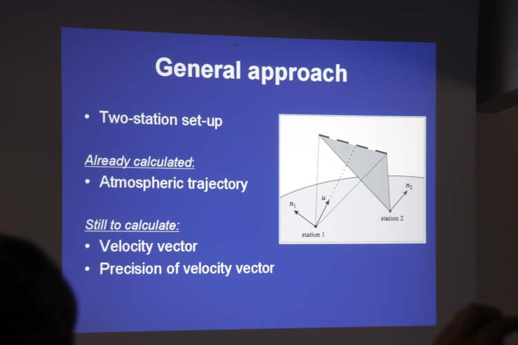 Eduard Bettonvil used very clear slides to illustrate his talk 'Precision of a meteor's 3D velocity vector' (credit Bernd Brinkmann).