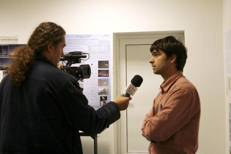 Juraj Toth (right) being interviewed for the local TV (credit Valentin Grigore).