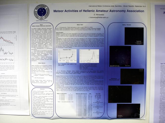 The poster of Meteor activities of the Hellenic Amateur Astronomy Association (credit Jos Nijland).