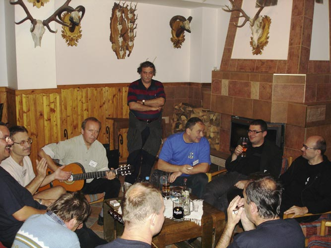 Friday evening free time in the bar: Jaroslav Gerbos, Štefan Gajdoš, Peter Zimnikoval (looking away), Pavol Zigo, Stanislav Kaniansky (front), Andrei Doria Gheorghe, Mirosław Krasnowski, Przemyslaw Zoladek, Jan Masiar and Mariusz Wiśniewski (credit Jos Nijland).