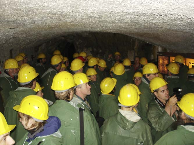 The mine hosts some wider halls where historic and technical explanations were given (credit Jos Nijland).