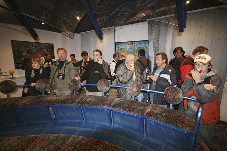 At the small planetarium first row from l.to r. Birgit Flohrer, Joachim Flohrer, François Colas, Eduard Pittich and Peter Zimnikoval (credit Stanislav Kaniansky).
