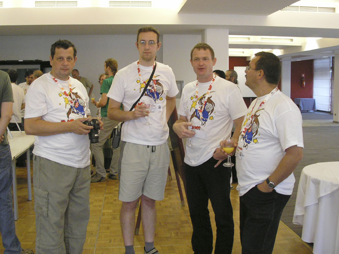 The opening drink with from l.to r. Juraj Skvarka, Matej Korec, Stanislav Kaniansky and Jaroslav Gerbos (credit Miroslav Znášik).