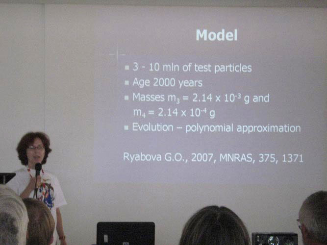 Galina Ryabova presenting 'Numerical model of the Geminid meteoroid stream: preliminary results' (credit Željko Andreic).