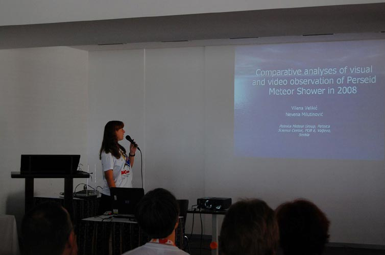 Vilena Velikic presenting 'Comparative Analyses of visual and video observation of Perseid Meteor Shower in 2008' (credit Gabriela Sasu).
