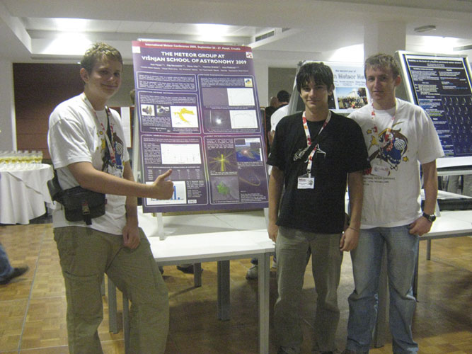 Friday 5:30pm: Poster session with Denis Vida, Ivica Pletikosa and Filip Novoselnik with the Croatian contribution (credit Damir Šegon).