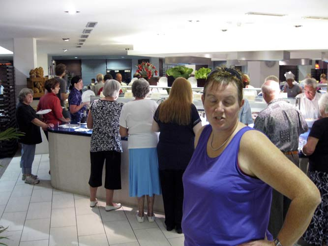 Dinner: Elise Ijland at the self-service which was invaded by large crowds of elderly tourists (credit Roy Keeris).