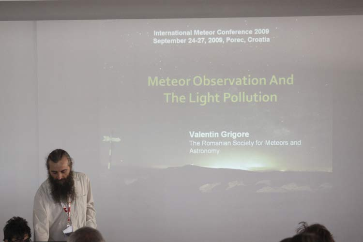 Valentin Grigore presenting 'Meteor observations and the light pollution' (credit Stanislav Kaniansky).