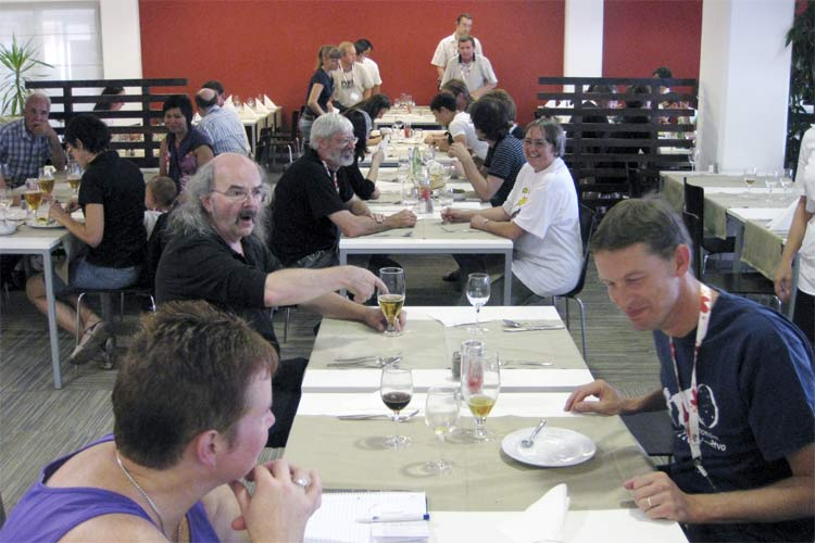 Saturday noon lunch: in front Else Ijland, Axel Haas and Jos Nijland (credit Roy Keeris).