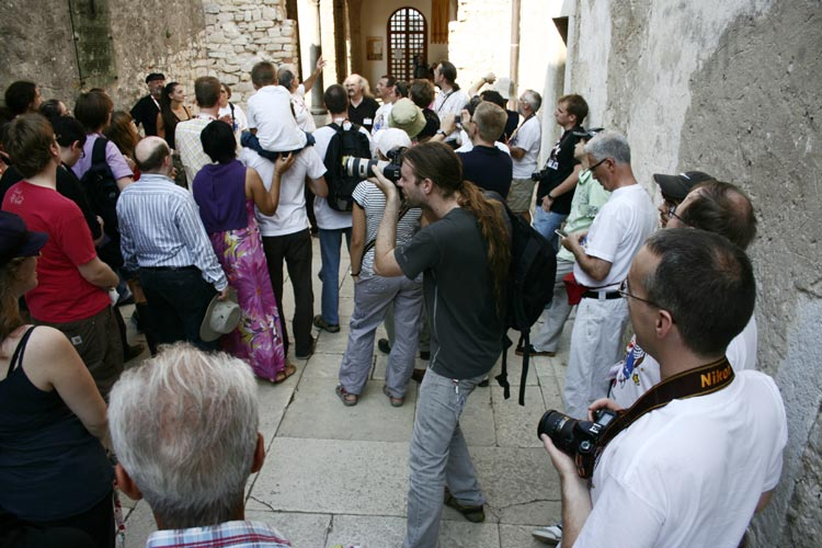 Entering the Euphrasian Basilica: Korado explains (credit Valentin Grigore).